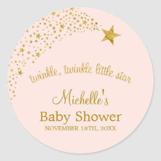 Twinkle Little Shooting Star Pink Gold Baby Shower Round Sticker