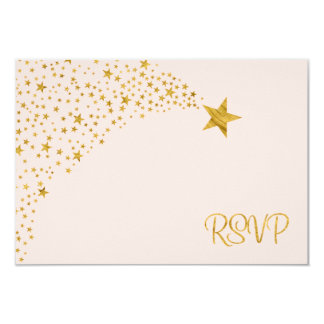 Twinkle Little Shooting Star Pink Gold RSVP Card