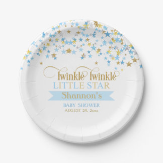 Twinkle Little Star Baby Shower Blue Gold 7 Inch Paper Plate