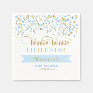 Twinkle Little Star Baby Shower Blue & Gold Paper Napkins