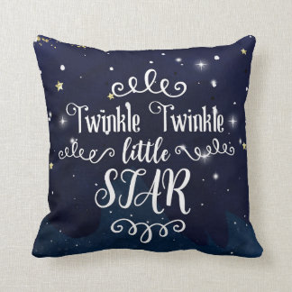 Twinkle Little Star Baby Shower Blue Gold Starry Throw Pillow