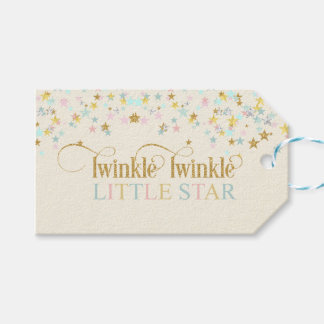 Twinkle Little Star Baby Shower Gold Aqua Pink Pack Of Gift Tags