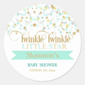 Twinkle Little Star Baby Shower Mint Green & Gold Round Sticker
