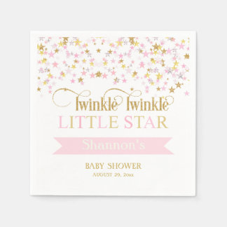 Twinkle Little Star Baby Shower Pink Gold Paper Napkins
