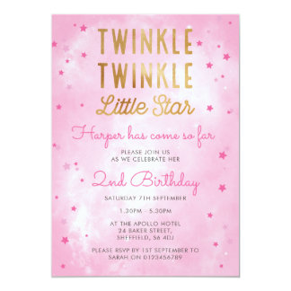 Twinkle little star birthday party invitation