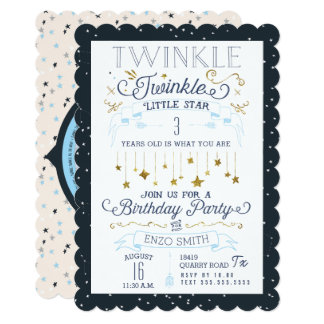 Twinkle Little Star Birthday Party Invitations