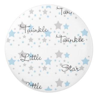 Twinkle Little Star Blue Grey Gray Nursery Rhyme Ceramic Knob