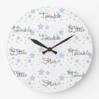 Twinkle Little Star Blue Grey Gray Nursery Rhyme Large Clock
