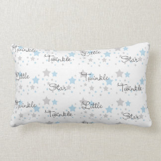 Twinkle Little Star Blue Grey Gray Nursery Rhyme Lumbar Pillow