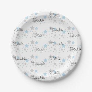 Twinkle Little Star blue Grey Gray Nursery Rhyme Paper Plate