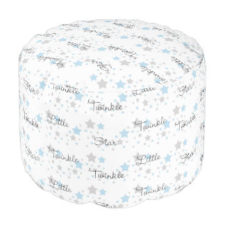 Twinkle Little Star Blue Grey Gray Nursery Rhyme Pouf