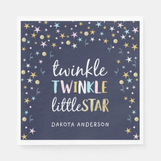 Twinkle Little Star Confetti & Blue Baby Shower Disposable Napkin