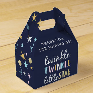 Twinkle Little Star Confetti & Blue Baby Shower Favor Box