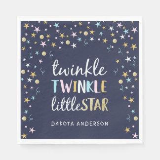 Twinkle Little Star Confetti & Blue Baby Shower Napkin