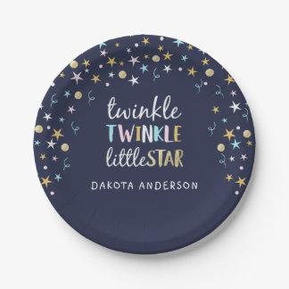 Twinkle Little Star Confetti & Blue Baby Shower Paper Plate