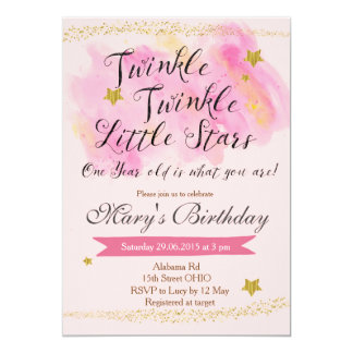 Twinkle Little Star Girl Birthday Invitation