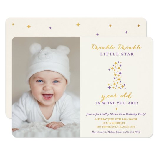 Twinkle Little Star Lavender & Gold First Birthday Card