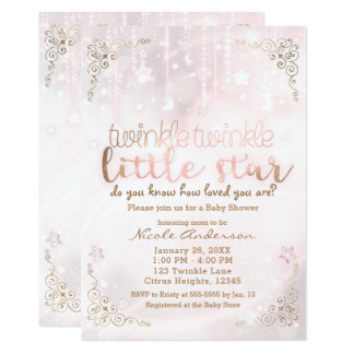 Twinkle little Star Pink Gold Sparkle Baby Shower Card
