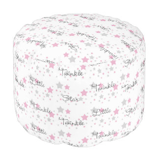 Twinkle Little Star Pink Grey Gray Nursery Rhyme Pouf