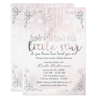 Twinkle little Star Pink & Silver Baby Shower Card