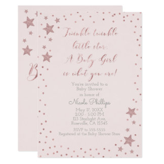 Twinkle Little Star Rose Gold Girl Baby Shower Card