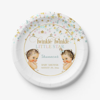 Twinkle Little Star Vintage Baby Gender Neutral Paper Plate