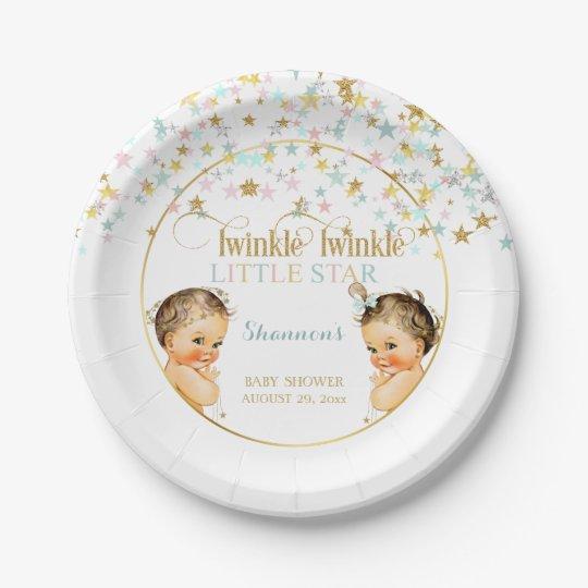 Twinkle Little Star Vintage Baby Gender Neutral Paper Plate