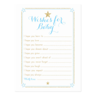 Twinkle Little Star Wishes for Baby - Blue Gold Postcard