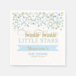Twinkle Little Stars Twin Baby Shower Blue & Gold Paper Napkin