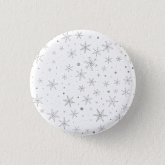 Twinkle Snowflake -Silver Grey & White- 1 Inch Round Button