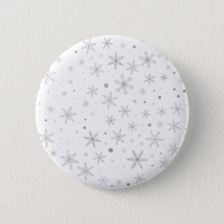 Twinkle Snowflake -Silver Grey & White- 2 Inch Round Button