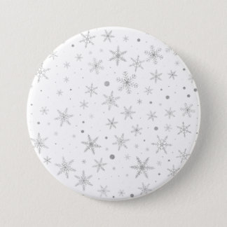 Twinkle Snowflake -Silver Grey & White- 3 Inch Round Button
