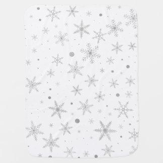 Twinkle Snowflake -Silver Grey & White- Baby Blanket