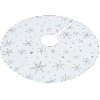 Twinkle Snowflake -Silver Grey & White- Brushed Polyester Tree Skirt