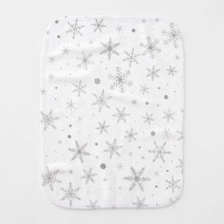 Twinkle Snowflake -Silver Grey & White- Burp Cloth