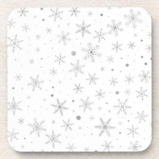 Twinkle Snowflake -Silver Grey & White- Coaster