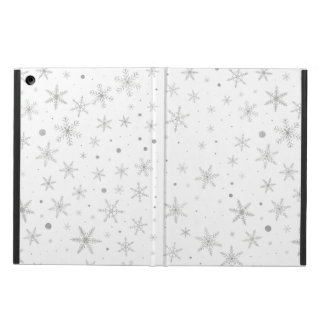 Twinkle Snowflake -Silver Grey & White- Cover For iPad Air