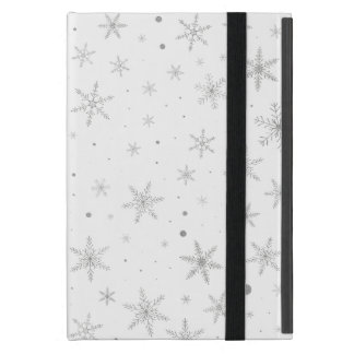 Twinkle Snowflake -Silver Grey & White- Cover For iPad Mini