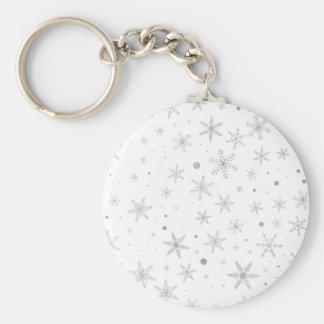 Twinkle Snowflake -Silver Grey & White- Keychain