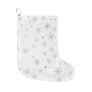 Twinkle Snowflake -Silver Grey & White- Large Christmas Stocking