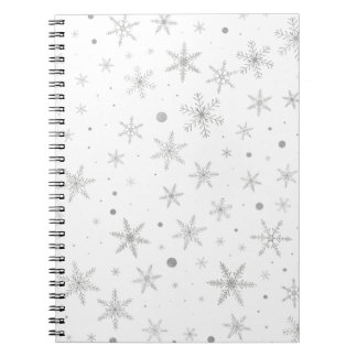 Twinkle Snowflake -Silver Grey & White- Notebook