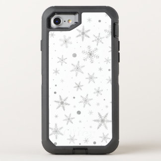 Twinkle Snowflake -Silver Grey & White- OtterBox Defender iPhone 8/7 Case