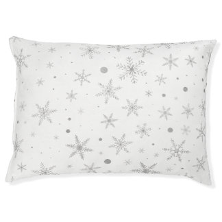 Twinkle Snowflake -Silver Grey & White- Pet Bed