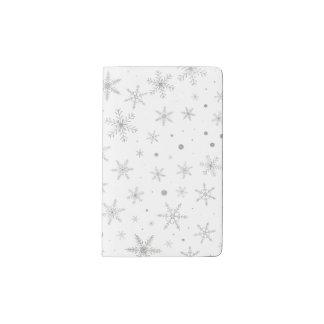 Twinkle Snowflake -Silver Grey & White- Pocket Moleskine Notebook