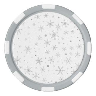 Twinkle Snowflake -Silver Grey & White- Poker Chips