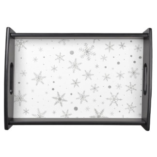Twinkle Snowflake -Silver Grey & White- Serving Tray