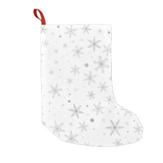 Twinkle Snowflake -Silver Grey & White- Small Christmas Stocking