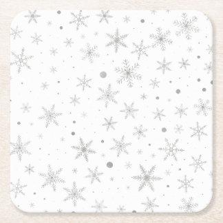 Twinkle Snowflake -Silver Grey & White- Square Paper Coaster