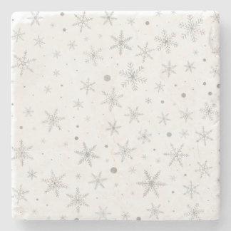 Twinkle Snowflake -Silver Grey & White- Stone Coaster