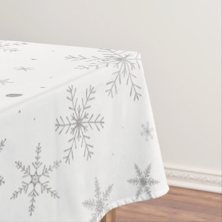 Twinkle Snowflake -Silver Grey & White- Tablecloth